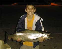 My son Zach's first ever king salmon caught ( 37). Caught on 92102. Racine Wisconsin 
