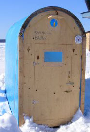 Free plans to build your own plywood canoe details buat boat for Ice fishing shanty plans